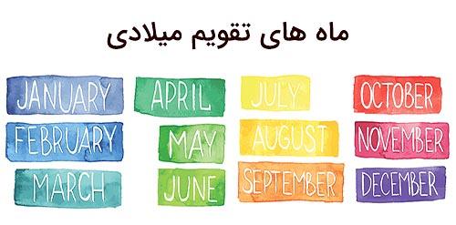 ماه های تقویم میلادی